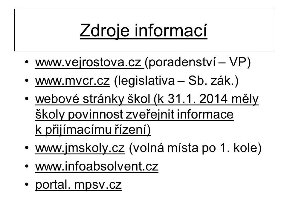 Zdroje informací •www.vejrostova.cz (poradenství – VP) •www.mvcr.cz (legislativa – Sb. zák.) •webové stránky škol (k 31.1. 2014 měly školy povinnost z
