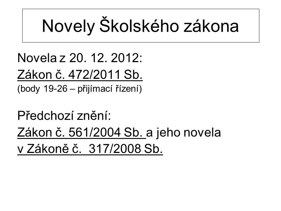 Novely Školského zákona Novela z 20. 12. 2012: Zákon č. 472/2011 Sb. (body 19-26 – přijímací řízení) Předchozí znění: Zákon č. 561/2004 Sb. a jeho nov