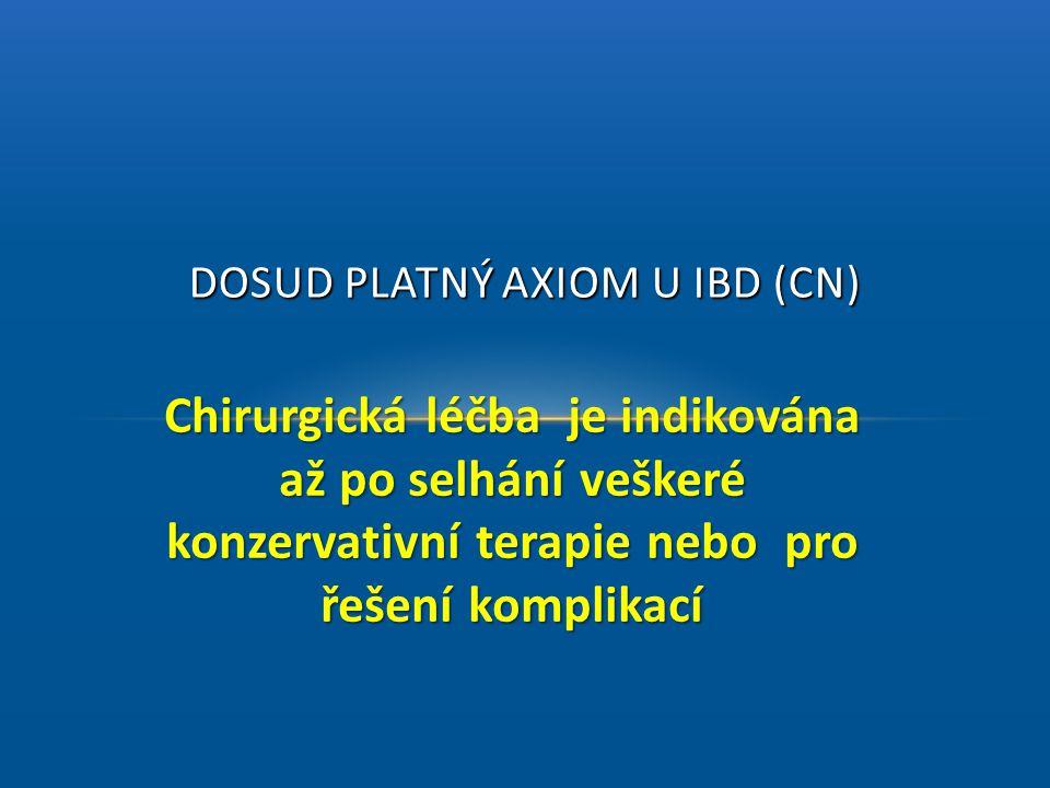 Chirurgická léčba je indikována až po selhání veškeré konzervativní terapie nebo pro řešení komplikací DOSUD PLATNÝ AXIOM U IBD (CN)