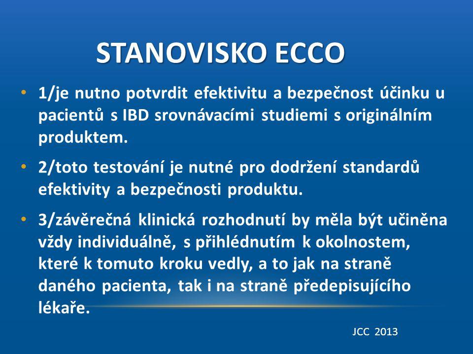 STANOVISKO ECCO STANOVISKO ECCO • 1/je nutno potvrdit efektivitu a bezpečnost účinku u pacientů s IBD srovnávacími studiemi s originálním produktem. •