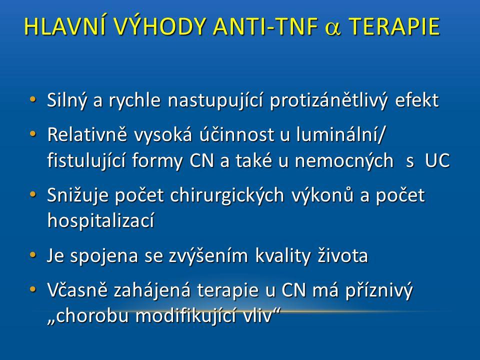 HLAVNÍ VÝHODY ANTI-TNF  TERAPIE HLAVNÍ VÝHODY ANTI-TNF  TERAPIE • Silný a rychle nastupující protizánětlivý efekt • Relativně vysoká účinnost u lu
