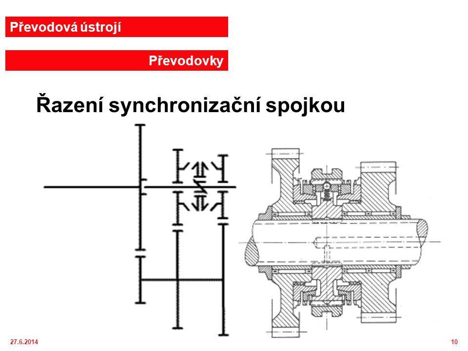 27.6.201411 Převodová ústrojí Převodovky Řazení synchronizační spojkou