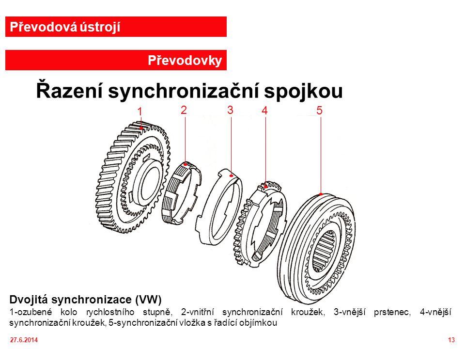 27.6.201414 Převodová ústrojí Převodovky Dvojitá a trojitá synchronizace