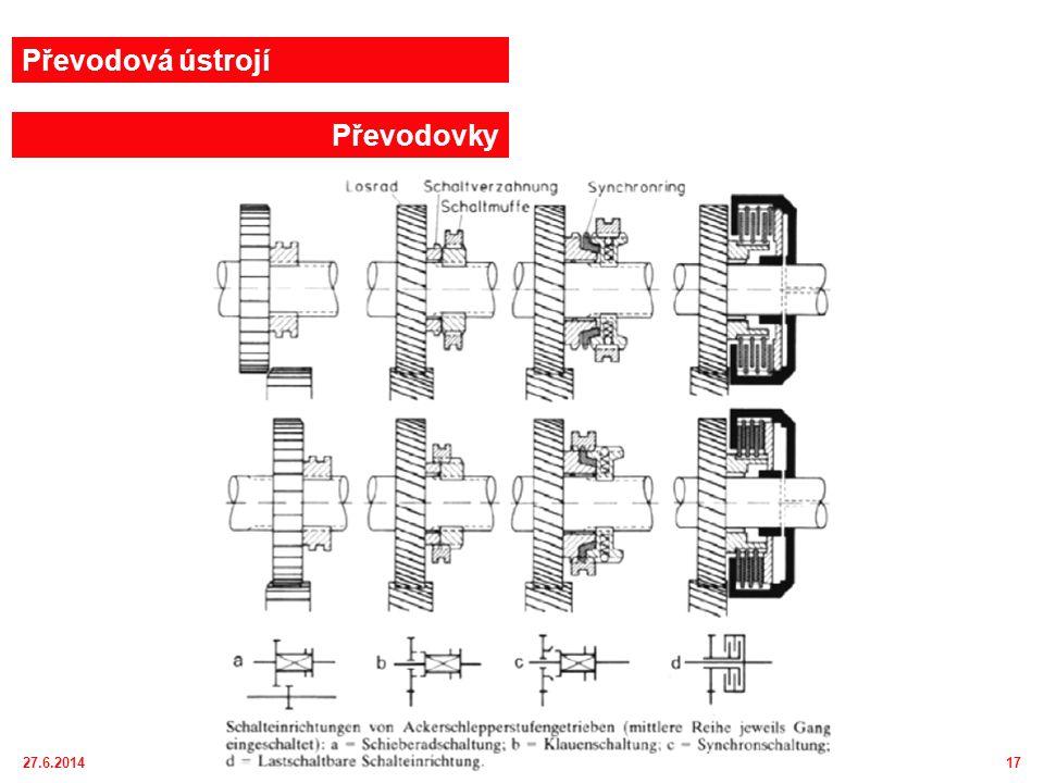 27.6.201418 Moderní traktorová převodovka Full Powershift 18/4 rychlostními stupni : 1-pohon od motoru, 2-pohon přední nápravy, 3-hlavní převodovka, 4-pojezdová spojka, 5-spojka pro pohon přední nápravy, 6-skupinová převodovka, 7-koncový převod 1 2 3 456 7 Převodová ústrojí Převodovky