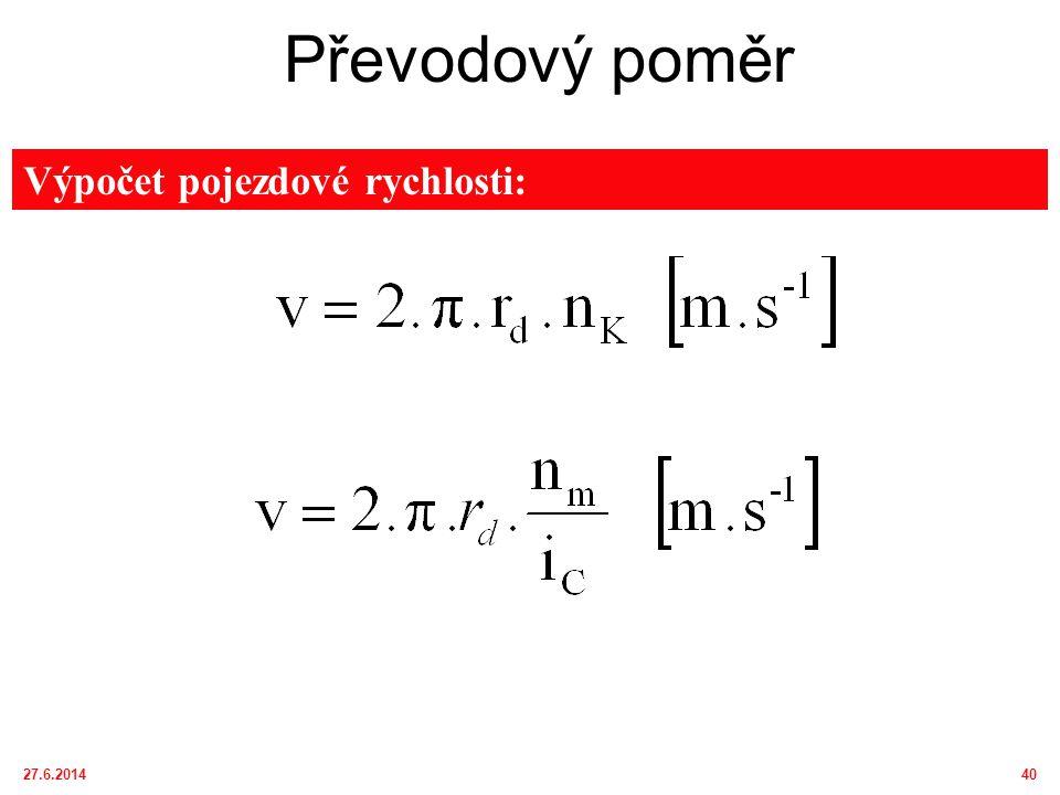 27.6.201441 Převodový poměr a)Měnitelný (převodovky, hydraulické mechanizmy) b)Stálý (rozvodovka, koncový převod, pohon přední nápravy) a)stupňovitě (synchronizační, lamelovou nebo zubovou spojkou, přesunem ozubeného kola) b)plynule (změnou geometrického objemu, změnou vzdálenosti řemenice) Změna převodového poměru