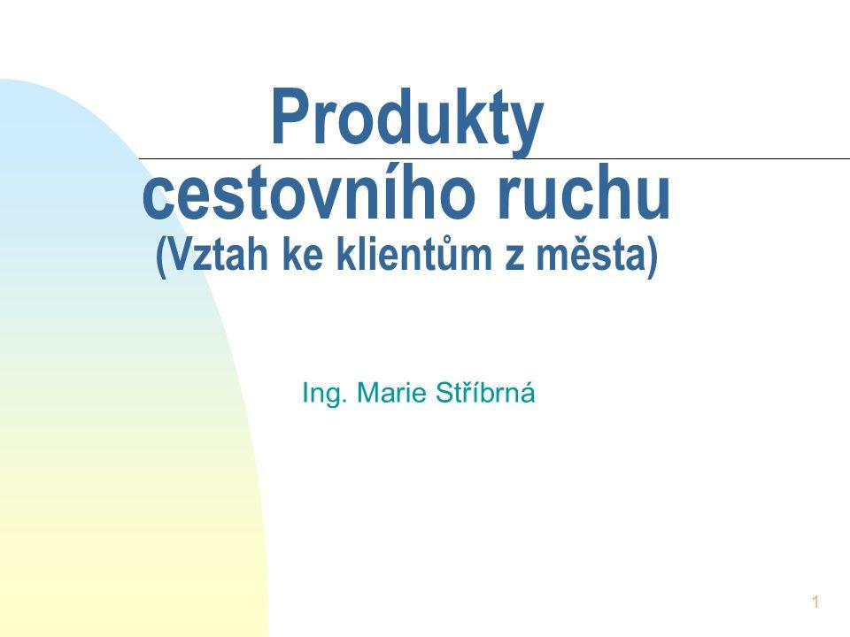 1 Produkty cestovního ruchu (Vztah ke klientům z města) Ing. Marie Stříbrná