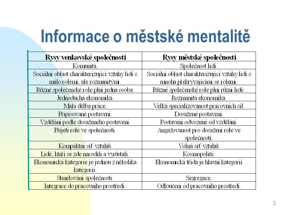 2 Informace o městské mentalitě