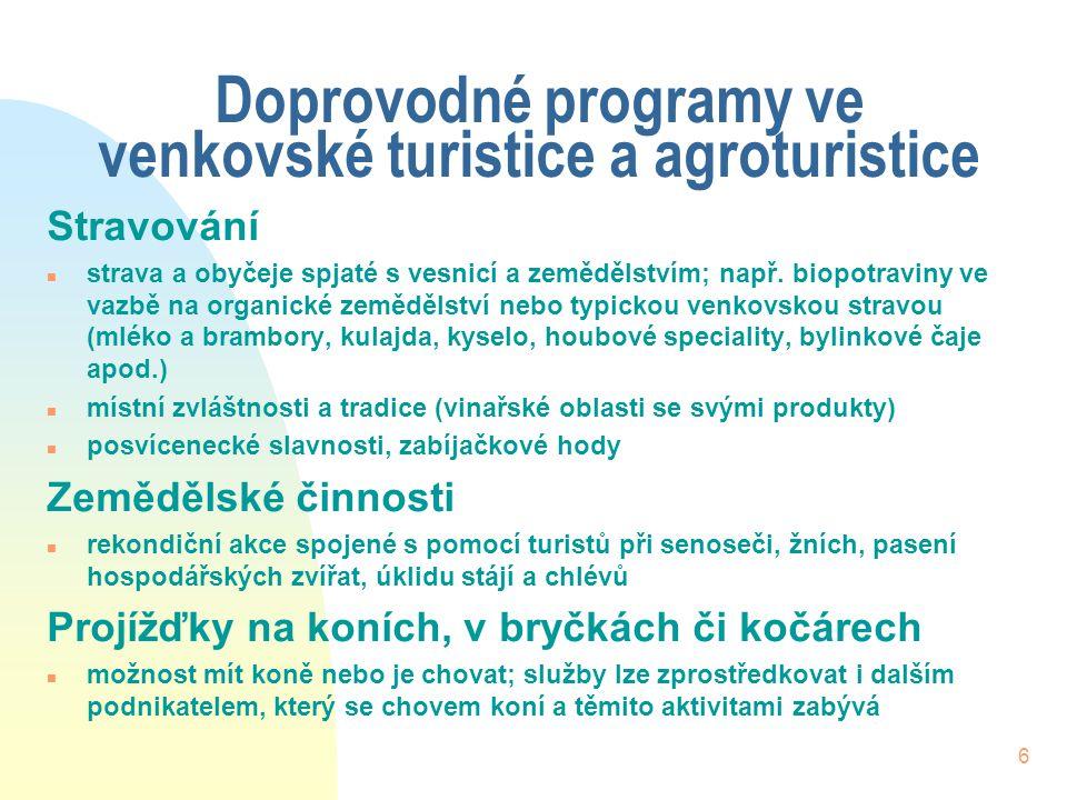 6 Doprovodné programy ve venkovské turistice a agroturistice Stravování n strava a obyčeje spjaté s vesnicí a zemědělstvím; např.