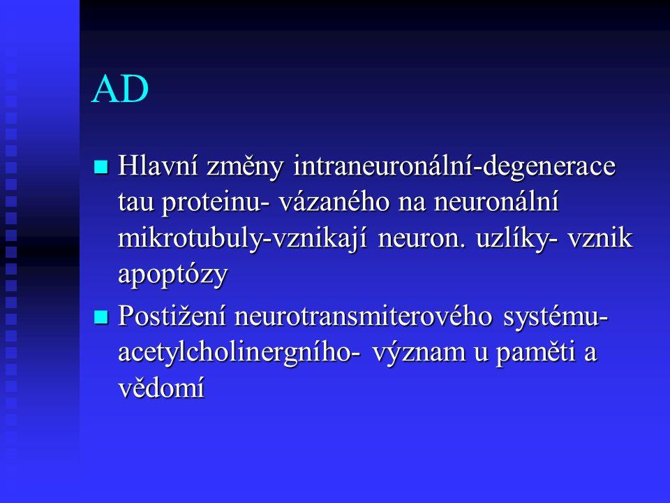 AD  Hlavní změny intraneuronální-degenerace tau proteinu- vázaného na neuronální mikrotubuly-vznikají neuron.