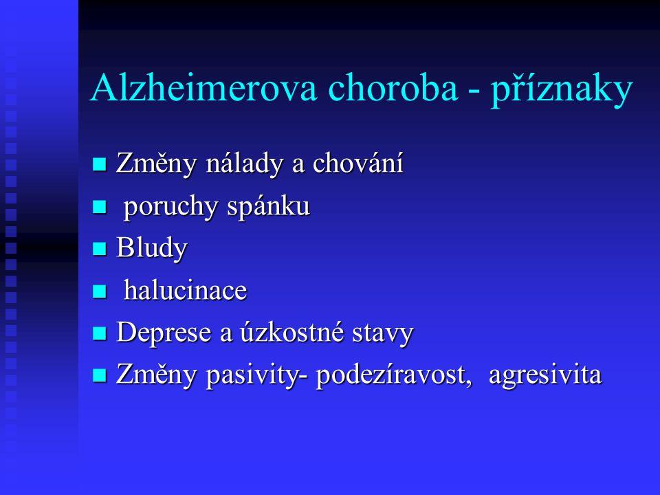 Alzheimerova choroba - příznaky  Změny nálady a chování  poruchy spánku  Bludy  halucinace  Deprese a úzkostné stavy  Změny pasivity- podezíravost, agresivita