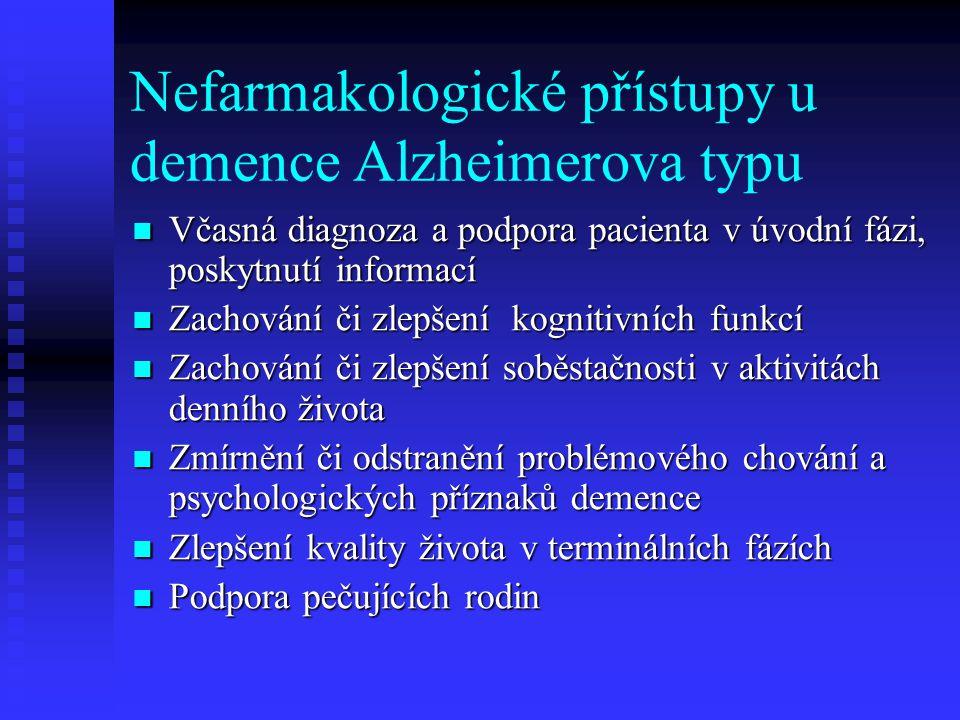 Nefarmakologické přístupy u demence Alzheimerova typu  Včasná diagnoza a podpora pacienta v úvodní fázi, poskytnutí informací  Zachování či zlepšení kognitivních funkcí  Zachování či zlepšení soběstačnosti v aktivitách denního života  Zmírnění či odstranění problémového chování a psychologických příznaků demence  Zlepšení kvality života v terminálních fázích  Podpora pečujících rodin