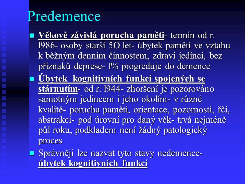 Predemence  Věkově závislá porucha paměti- termín od r.
