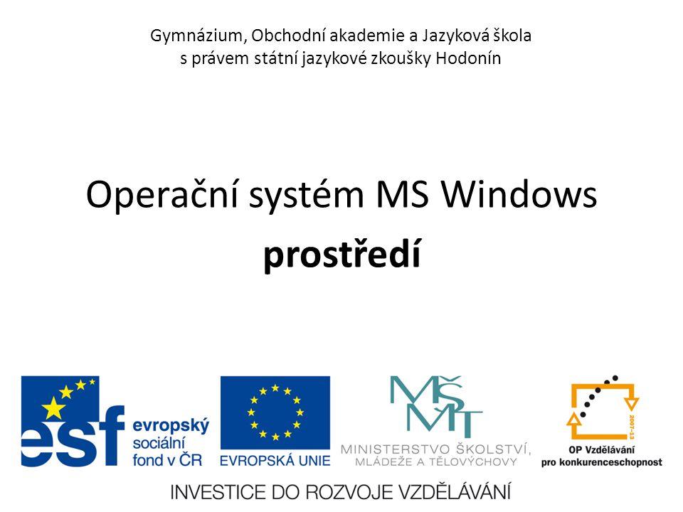 Gymnázium, Obchodní akademie a Jazyková škola s právem státní jazykové zkoušky Hodonín Operační systém MS Windows prostředí