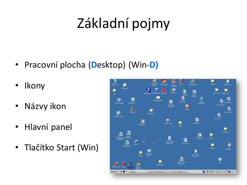 Základní pojmy • Pracovní plocha (Desktop) (Win-D) • Ikony • Názvy ikon • Hlavní panel • Tlačítko Start (Win)