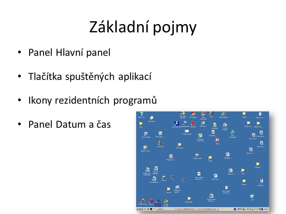 Základní pojmy • Panel Hlavní panel • Tlačítka spuštěných aplikací • Ikony rezidentních programů • Panel Datum a čas
