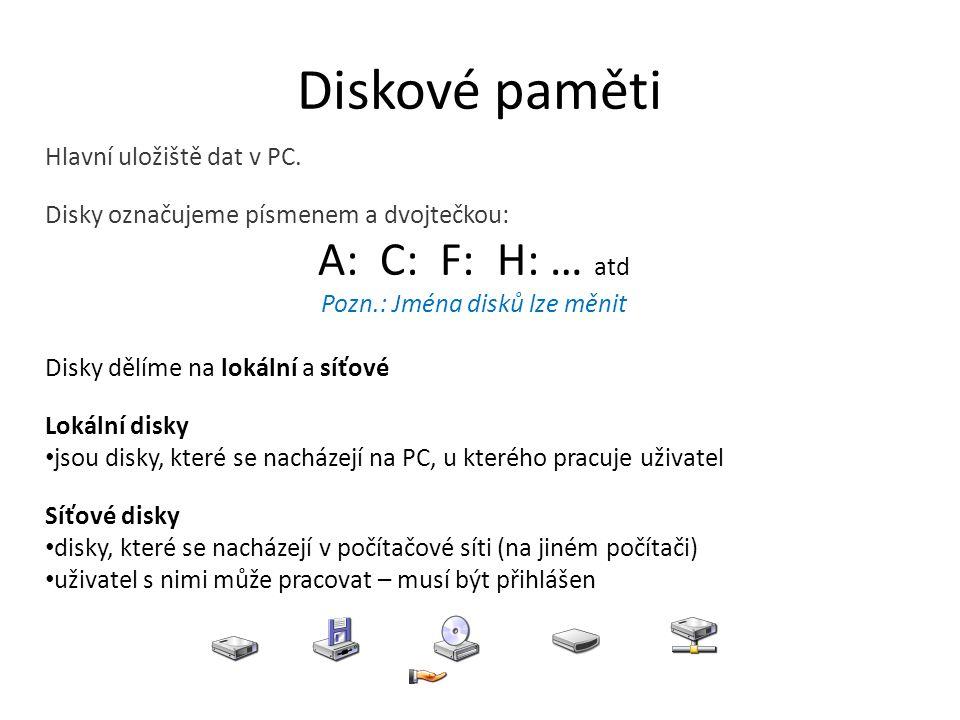 Diskové paměti Hlavní uložiště dat v PC.