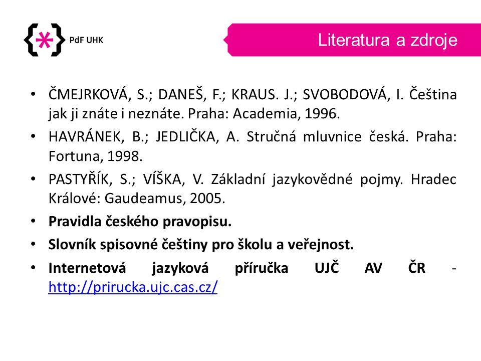 Literatura a zdroje • ČMEJRKOVÁ, S.; DANEŠ, F.; KRAUS. J.; SVOBODOVÁ, I. Čeština jak ji znáte i neznáte. Praha: Academia, 1996. • HAVRÁNEK, B.; JEDLIČ
