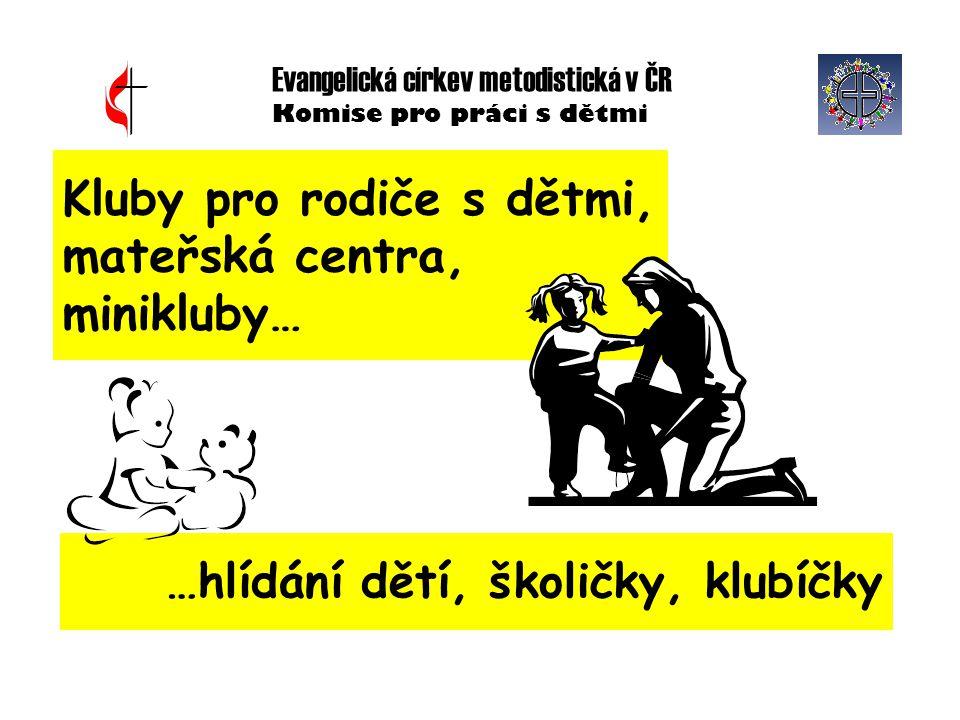 Evangelická církev metodistická v ČR Komise pro práci s dětmi Kluby pro rodiče s dětmi, mateřská centra, minikluby… …hlídání dětí, školičky, klubíčky
