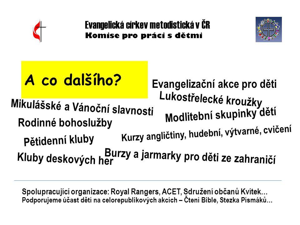 Evangelizační akce pro děti Evangelická církev metodistická v ČR Komise pro práci s dětmi A co dalšího? Pětidenní kluby Modlitební skupinky dětí Spolu