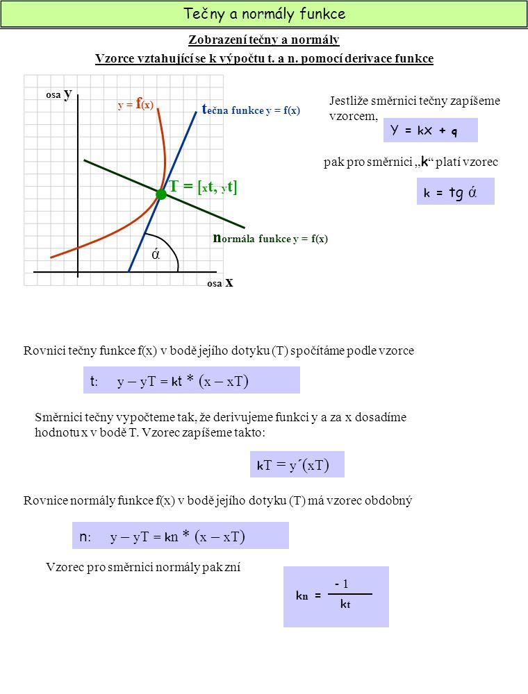 Tečny a normály funkce Postup při výpočtu tečny a normály k funkci f(x) k n = - 1 ktkt t : y – y T = k t * ( x – x T ) k T = y ´( x T ) n : y – y T = k n * ( x – x T )  Dopočítáme druhou souřadnici bodu dotyku křivky grafu a tečny funkce (T = [x t, .