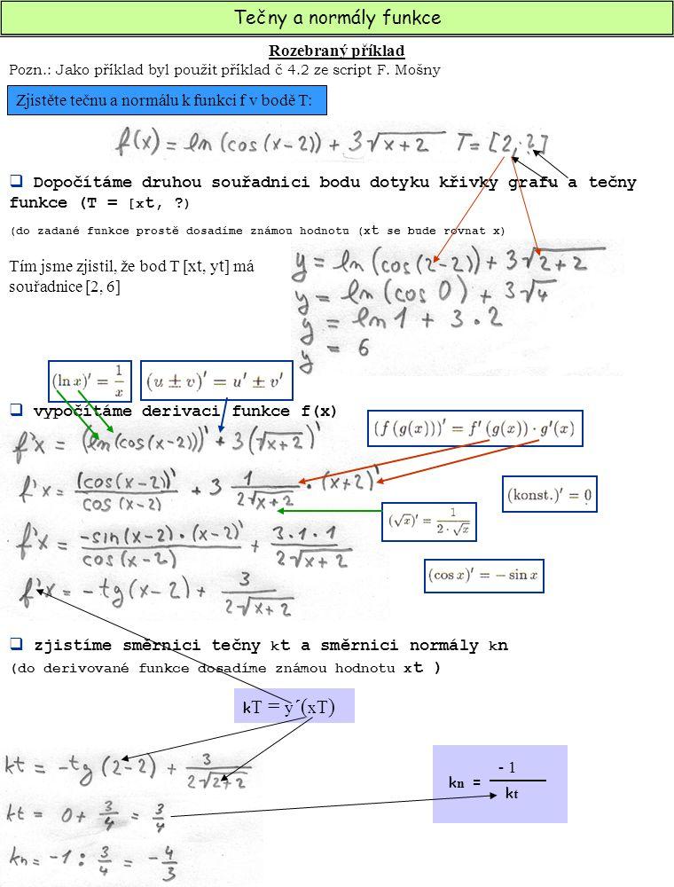Tečny a normály funkce Rozebraný příklad  Po dosazení do vzorce zapíšeme obecnou rovnici tečny a normály t : y – y T = k t * ( x – x T ) n : y – y T = k n * ( x – x T ) a x + b y + c = 0 Zjistěte tečnu k funkci f rovnoběžnou s přímkou p: Y = k x + q k T = y ´( x T ) t : y – y T = k t * ( x – x T )