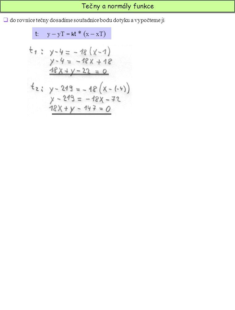 Tečny a normály funkce  do rovnice tečny dosadíme souřadnice bodu dotyku a vypočteme ji t : y – y T = k t * ( x – x T )