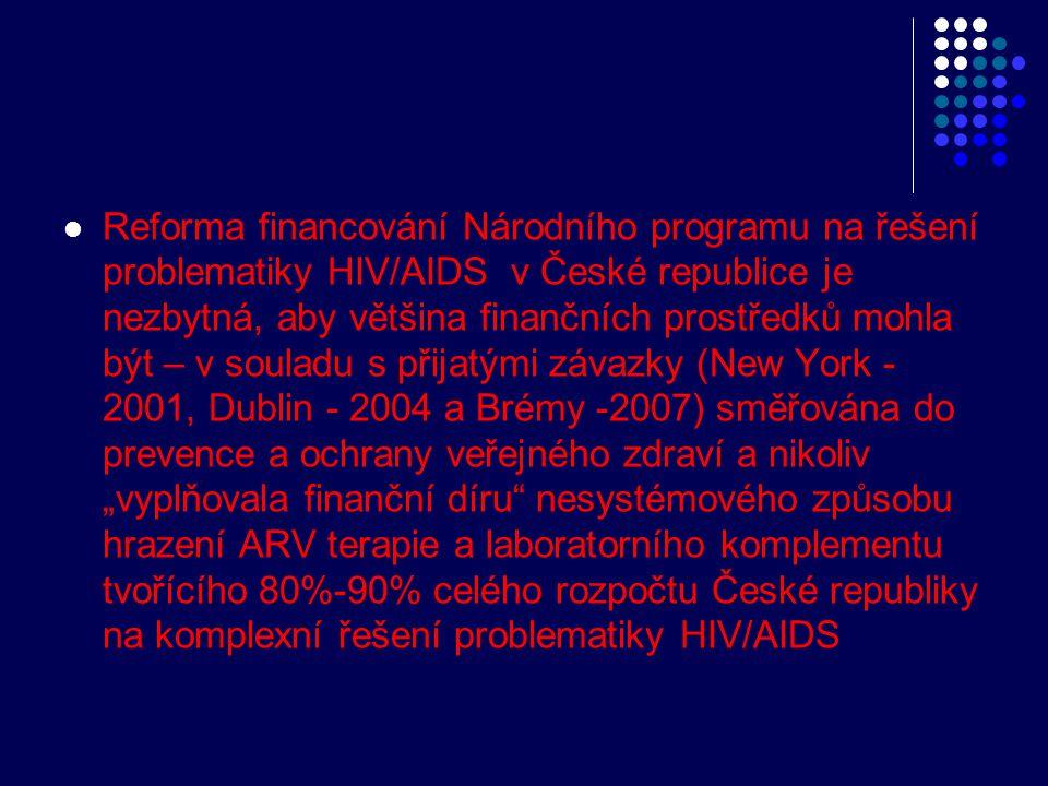  Reforma financování Národního programu na řešení problematiky HIV/AIDS v České republice je nezbytná, aby většina finančních prostředků mohla být –
