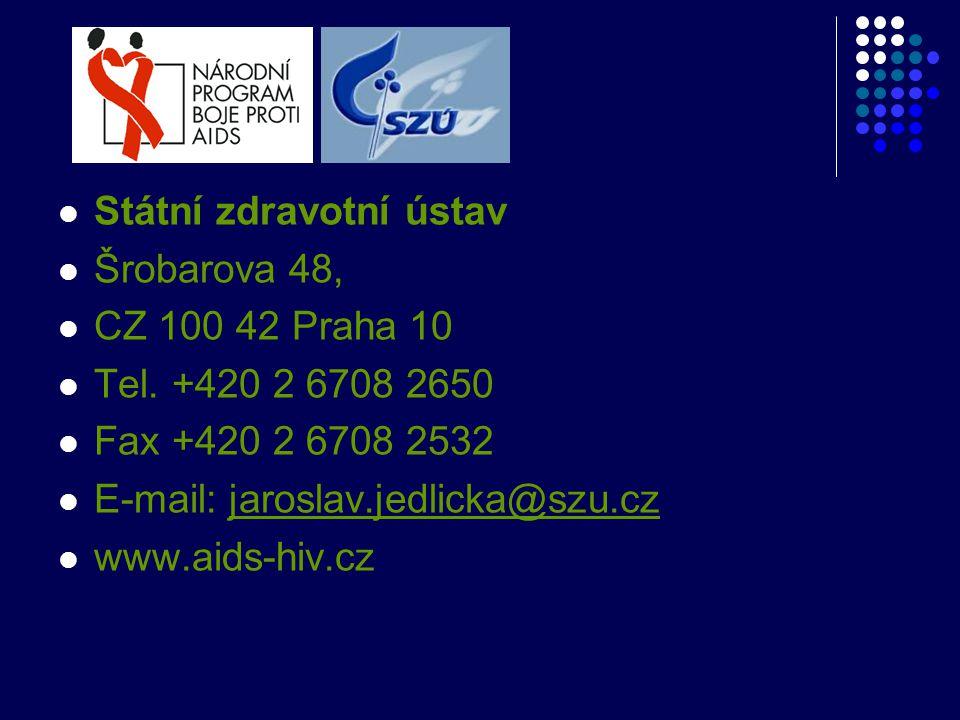  Státní zdravotní ústav  Šrobarova 48,  CZ 100 42 Praha 10  Tel. +420 2 6708 2650  Fax +420 2 6708 2532  E-mail: jaroslav.jedlicka@szu.czjarosla