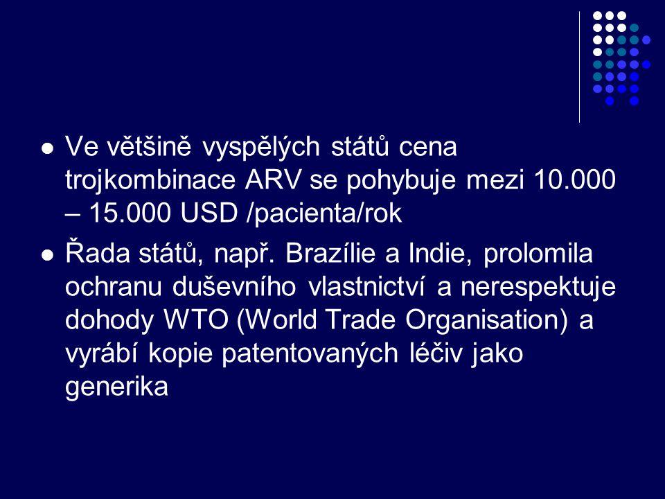  Ve většině vyspělých států cena trojkombinace ARV se pohybuje mezi 10.000 – 15.000 USD /pacienta/rok  Řada států, např. Brazílie a Indie, prolomila