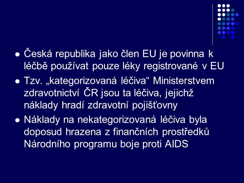 """ Česká republika jako člen EU je povinna k léčbě používat pouze léky registrované v EU  Tzv. """"kategorizovaná léčiva"""" Ministerstvem zdravotnictví ČR"""