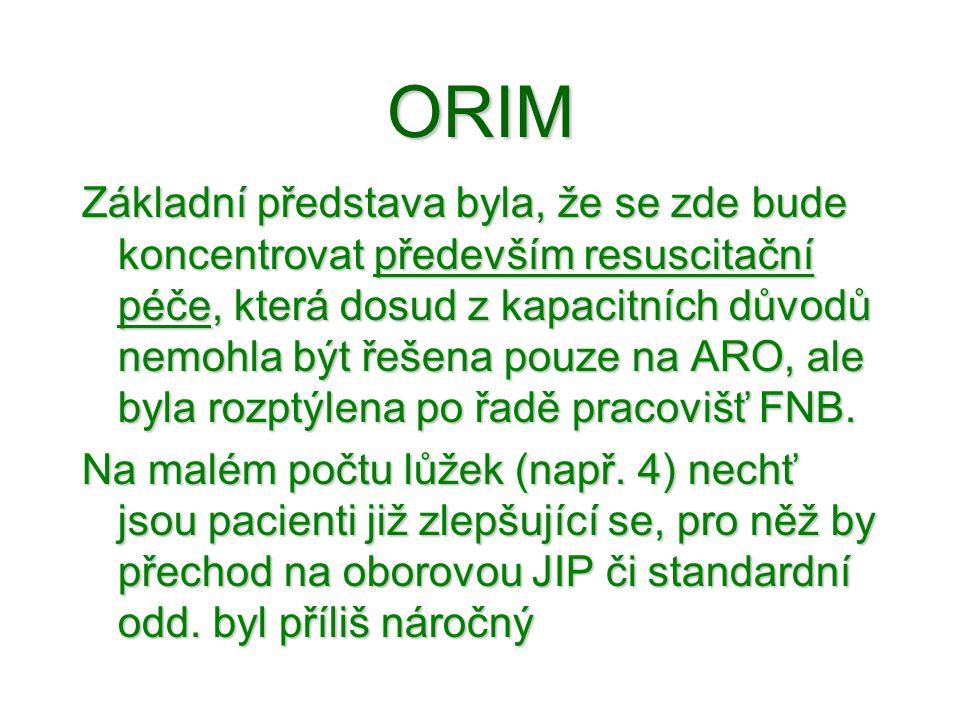 ORIM Základní představa byla, že se zde bude koncentrovat především resuscitační péče, která dosud z kapacitních důvodů nemohla být řešena pouze na AR