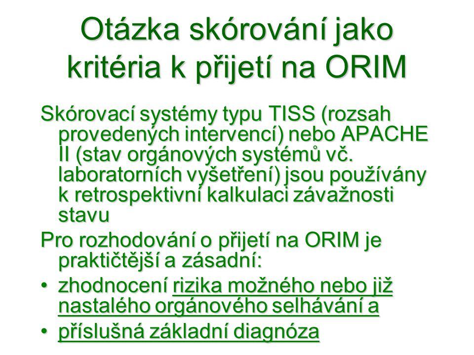 Otázka skórování jako kritéria k přijetí na ORIM Skórovací systémy typu TISS (rozsah provedených intervencí) nebo APACHE II (stav orgánových systémů v