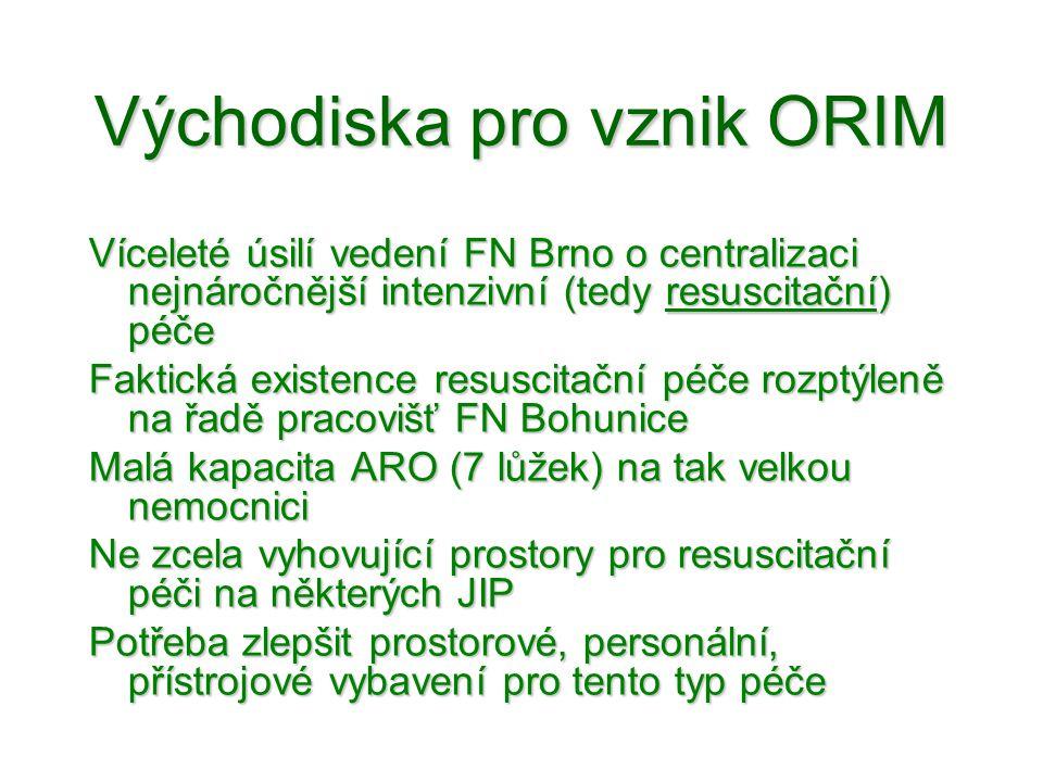Východiska pro vznik ORIM •V obecné rovině Víceleté úsilí vedení FN Brno o centralizaci nejnáročnější intenzivní (tedy resuscitační) péče Faktická exi