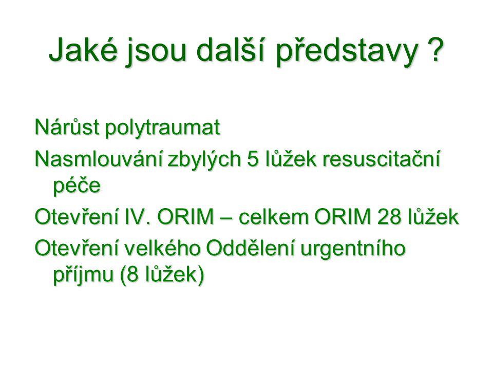 Jaké jsou další představy ? Nárůst polytraumat Nasmlouvání zbylých 5 lůžek resuscitační péče Otevření IV. ORIM – celkem ORIM 28 lůžek Otevření velkého
