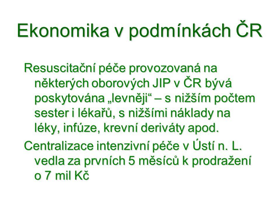 """Ekonomika v podmínkách ČR Resuscitační péče provozovaná na některých oborových JIP v ČR bývá poskytována """"levněji"""" – s nižším počtem sester i lékařů,"""