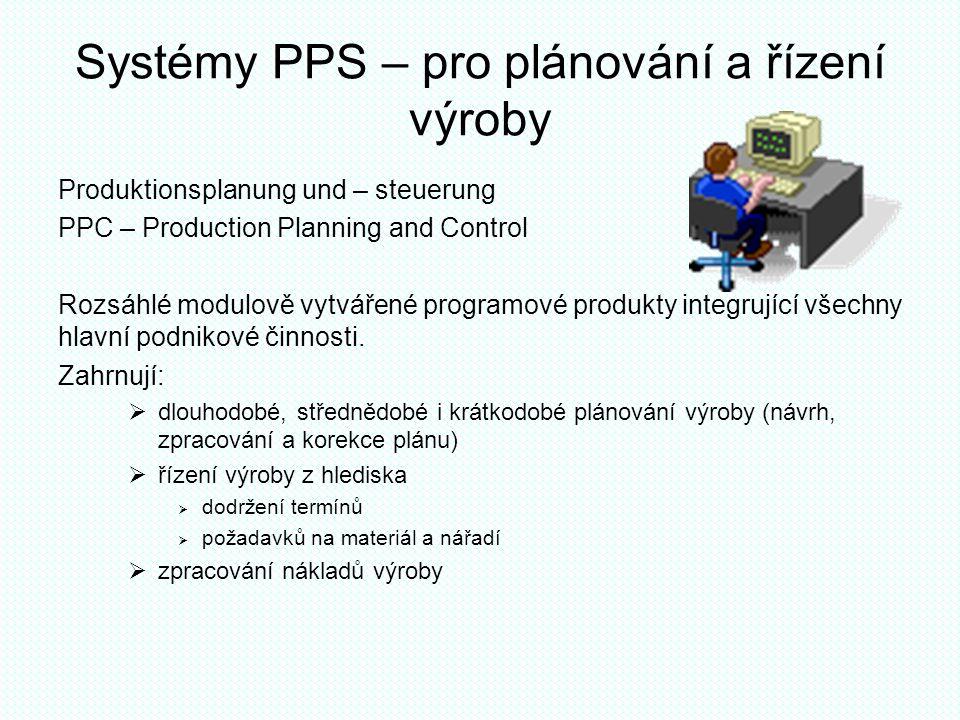 Systémy PPS – pro plánování a řízení výroby Produktionsplanung und – steuerung PPC – Production Planning and Control Rozsáhlé modulově vytvářené progr