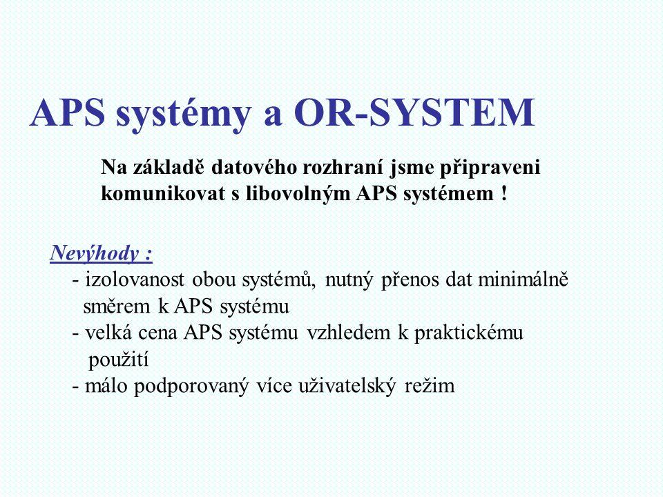 APS systémy a OR-SYSTEM Na základě datového rozhraní jsme připraveni komunikovat s libovolným APS systémem ! Nevýhody : - izolovanost obou systémů, nu