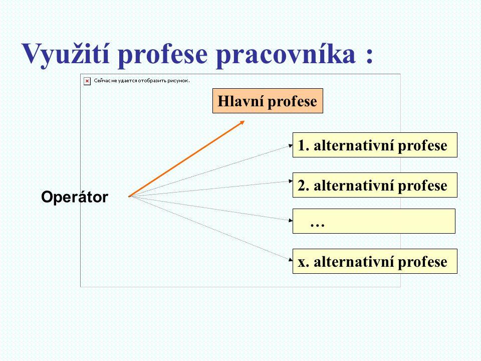Využití profese pracovníka : Hlavní profese 1. alternativní profese 2. alternativní profese … x. alternativní profese Operátor