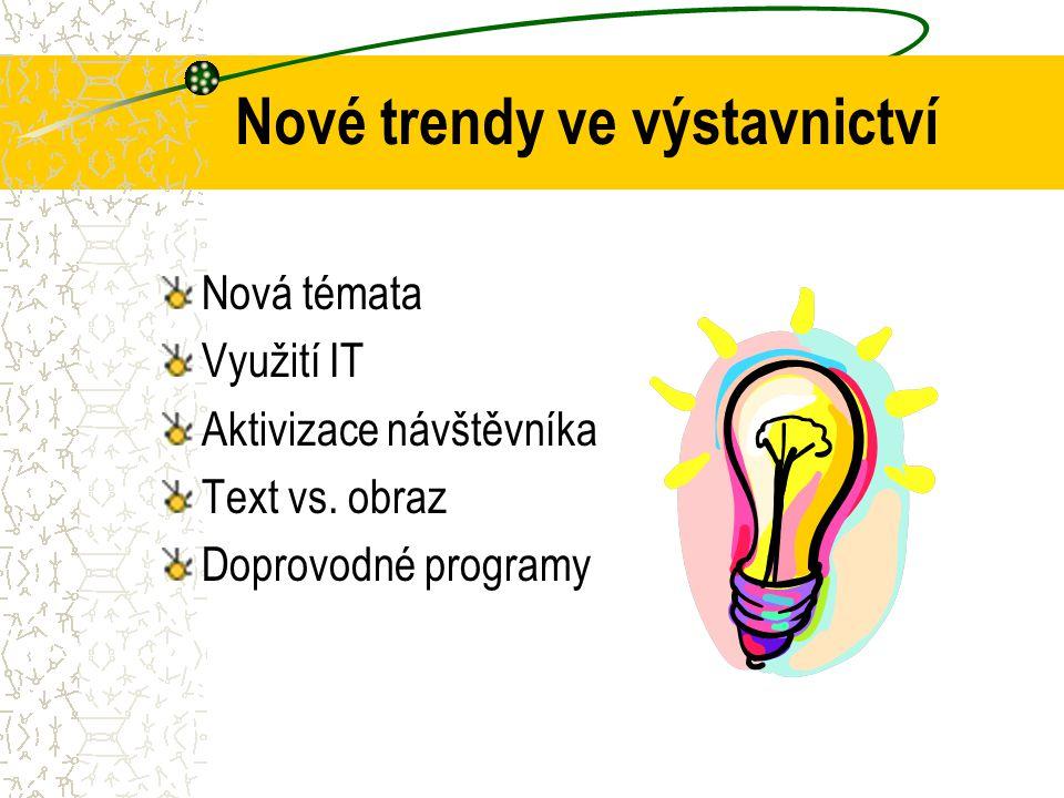 Nové trendy ve výstavnictví Nová témata Využití IT Aktivizace návštěvníka Text vs.