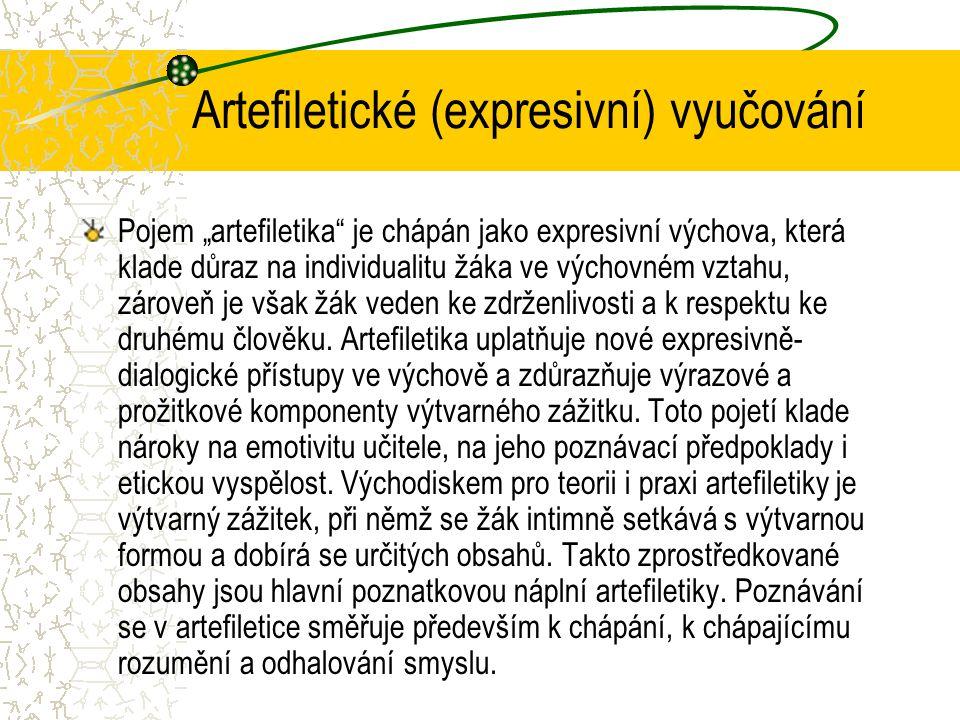 """Artefiletické (expresivní) vyučování Pojem """"artefiletika je chápán jako expresivní výchova, která klade důraz na individualitu žáka ve výchovném vztahu, zároveň je však žák veden ke zdrženlivosti a k respektu ke druhému člověku."""