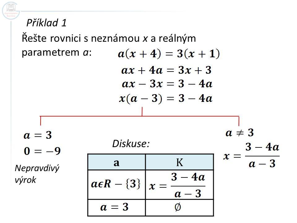 Příklad 1 Řešte rovnici s neznámou x a reálným parametrem a: Nepravdivý výrok Diskuse: aK
