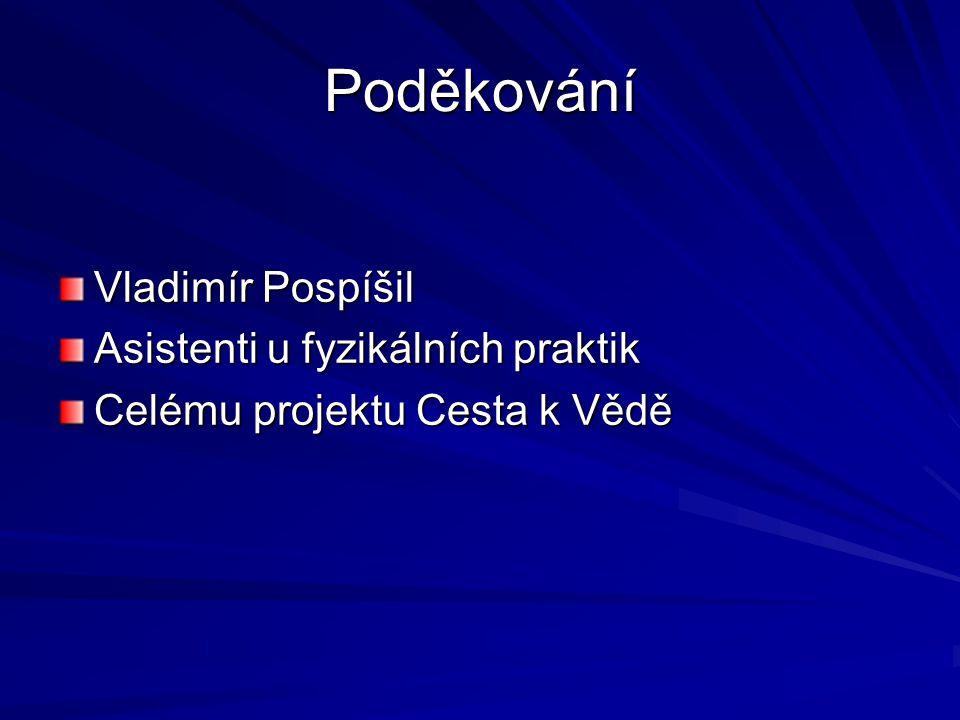 Poděkování Vladimír Pospíšil Asistenti u fyzikálních praktik Celému projektu Cesta k Vědě