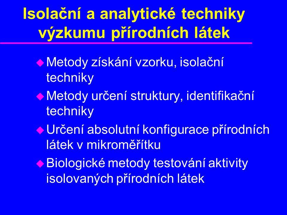 Isolační a analytické techniky výzkumu přírodních látek u Metody získání vzorku, isolační techniky u Metody určení struktury, identifikační techniky u Určení absolutní konfigurace přírodních látek v mikroměřítku u Biologické metody testování aktivity isolovaných přírodních látek