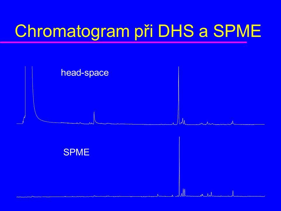 Chromatogram při DHS a SPME head-space SPME