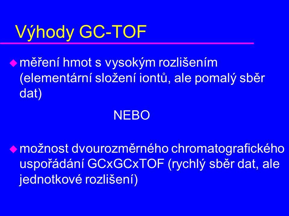 Výhody GC-TOF u měření hmot s vysokým rozlišením (elementární složení iontů, ale pomalý sběr dat) u možnost dvourozměrného chromatografického uspořádání GCxGCxTOF (rychlý sběr dat, ale jednotkové rozlišení) NEBO