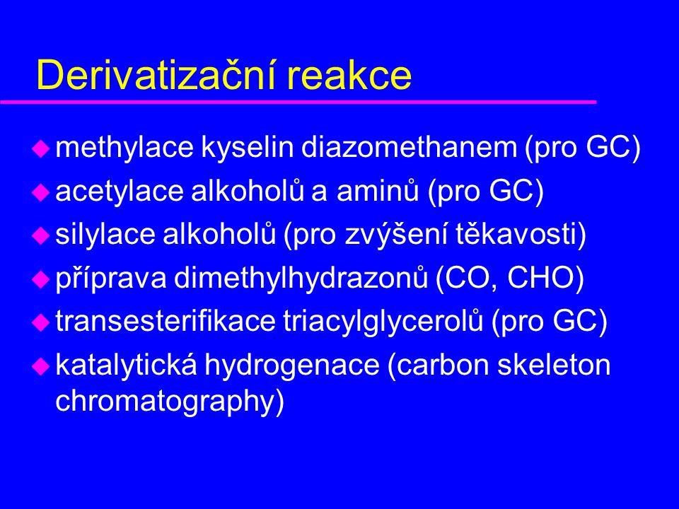 Derivatizační reakce u methylace kyselin diazomethanem (pro GC) u acetylace alkoholů a aminů (pro GC) u silylace alkoholů (pro zvýšení těkavosti) u příprava dimethylhydrazonů (CO, CHO) u transesterifikace triacylglycerolů (pro GC) u katalytická hydrogenace (carbon skeleton chromatography)