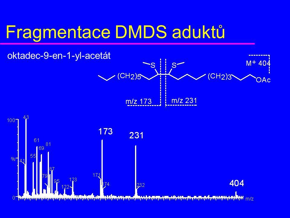 Fragmentace DMDS aduktů oktadec-9-en-1-yl-acetát