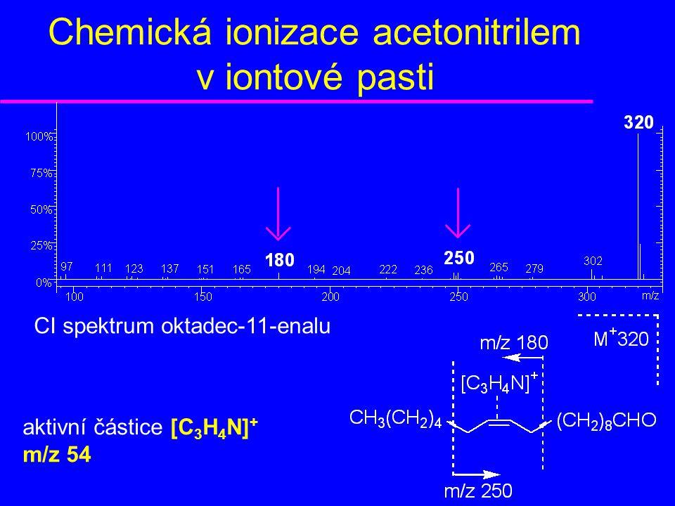 Chemická ionizace acetonitrilem v iontové pasti CI spektrum oktadec-11-enalu aktivní částice [C 3 H 4 N] + m/z 54