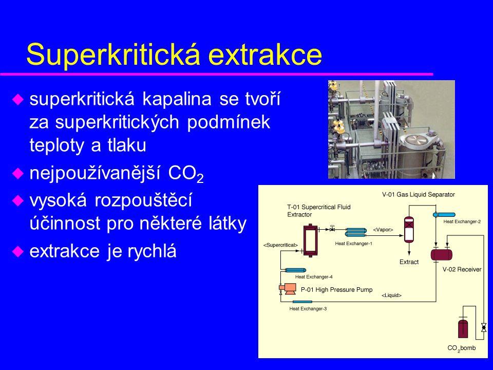 Superkritická extrakce u superkritická kapalina se tvoří za superkritických podmínek teploty a tlaku u nejpoužívanější CO 2 u vysoká rozpouštěcí účinnost pro některé látky u extrakce je rychlá
