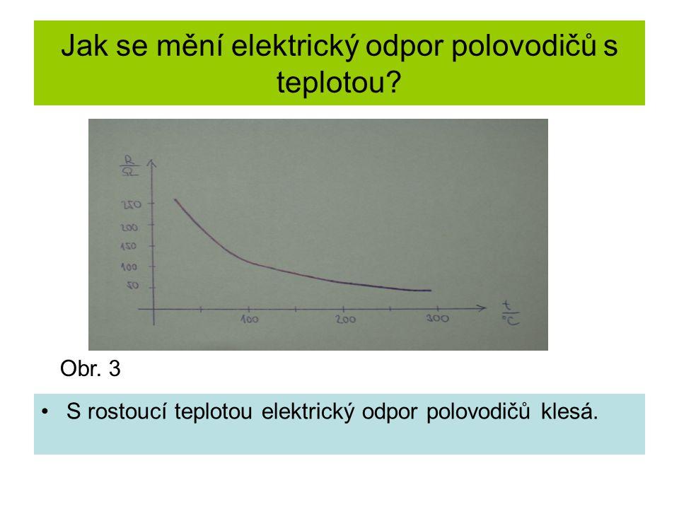 Jak se mění elektrický odpor polovodičů s teplotou? •S rostoucí teplotou elektrický odpor polovodičů klesá. Obr. 3